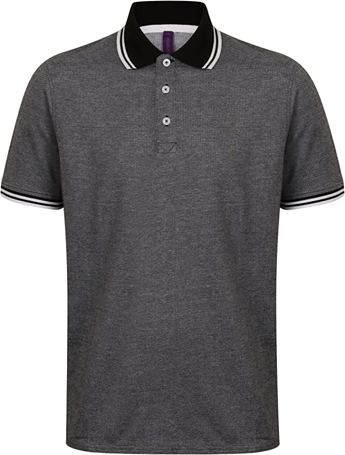Henbury Mens Contrast Tipped Pique Short Sleeve Polo Shirt