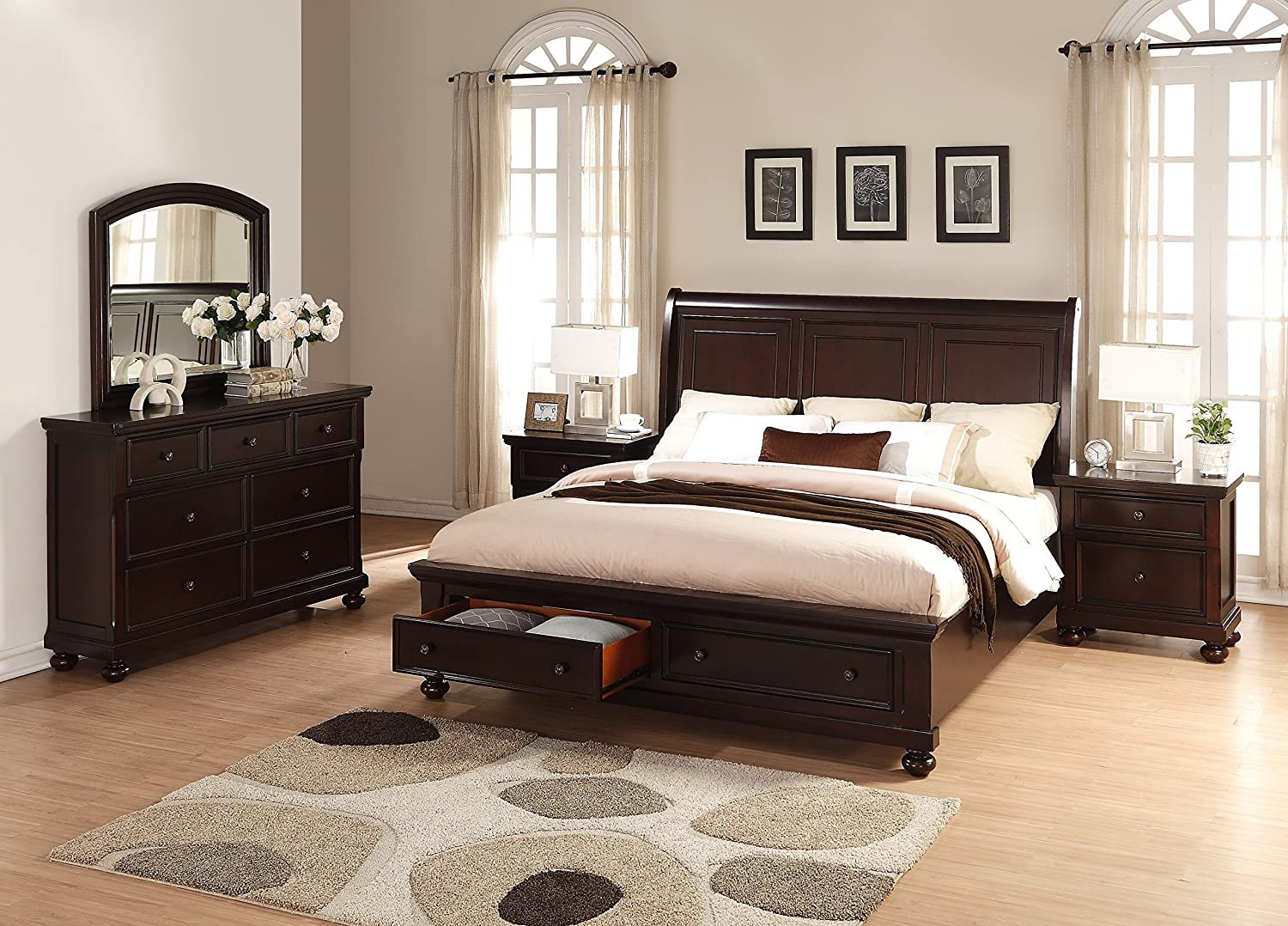 Roundhill Furniture Brishland Storage Bedroom Set Includes Dresser - Mirror and 2 Nighstands - King Bed - Rustic Cherry