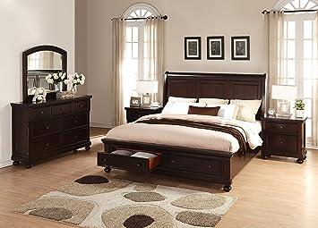 Amazon.com: Brishland Rustic Cherry Storage Bedroom set, Queen Bed ...