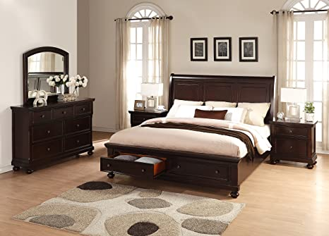 Roundhill Furniture Brishland Storage Bedroom Set Includes Queen Bed,  Dresser, Mirror and 2 Nighstands, Rustic Cherry