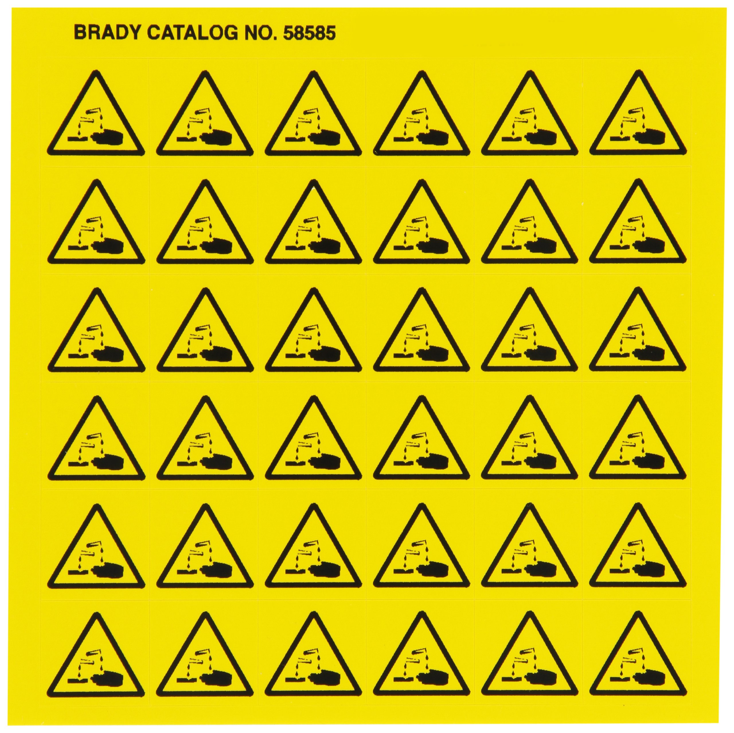 Brady 58585 Pressure Sensitive Vinyl Right-To-Know Pictogram Labels , Black On Yellow,  3/4'' Height x 3/4'' Width,  Pictogram ''Corrosive'' (36 Per Card,  1 Card per Package) by Brady (Image #1)