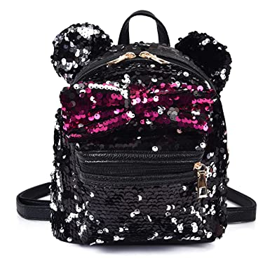 Women Girl s Sequin Backpack Cute Mini Fashion Backpack Ears Bowknot  Shoulder School Bag(Black) 6f769b4b9f5a