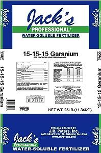 JR Peter's 77020 Jack's Professional Geranium 15-15-15 Fertilizer, 25 lb