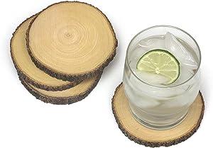 Lipper International 1034 Acacia Tree Bark Coasters, Set of 4