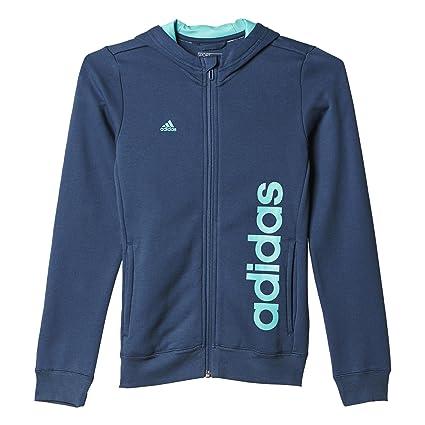 adidas YG ESS Lin FZ - Sudadera para niñas, Color Azul/Turquesa, Talla