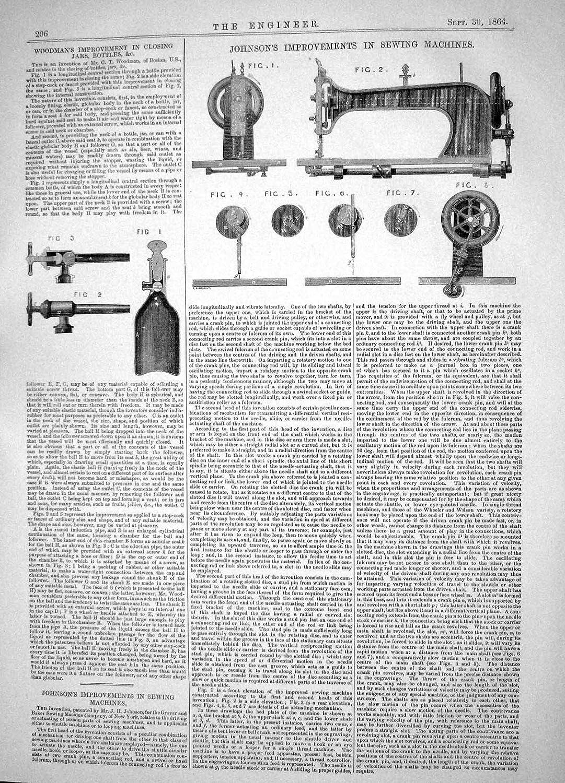 DIRIGIR AL LEÑADOR 1864 DE LAS MÁQUINAS DE COSER DE LAS MEJORÍAS DE JOHNSON SACUDE LAS BOTELLAS: Amazon.es: Hogar