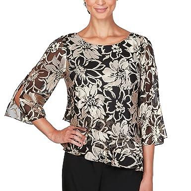 df3ab4e76d4 Alex Evenings Women s Plus Size Asymmetric Tiered Chiffon Blouse Shirt at  Amazon Women s Clothing store