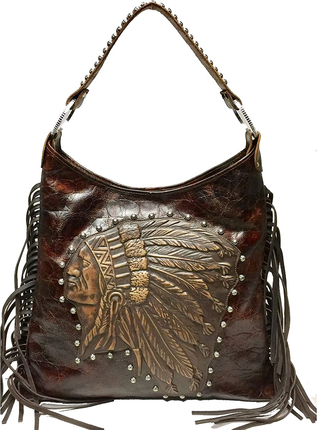 Raviani Brown Crocodile Embossed /& Brindle Hair on Hide Genuine Leather Shoulder Handbag