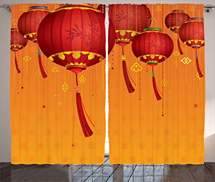 Ambesonne Lantern Decor Collection, Decorative Chinese Lanterns Hang On The  Air New Year Asian Art