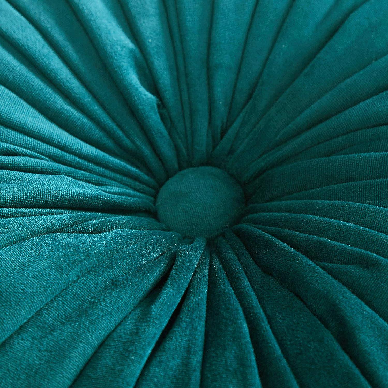 Cassiel Home 14.5 Pintuck Round Throw Pillow – Handcrafted Pumpkin Velvet Floor Pillow – Gold Throw Pillows Cushion for Chair Couch Solid Dark Teal