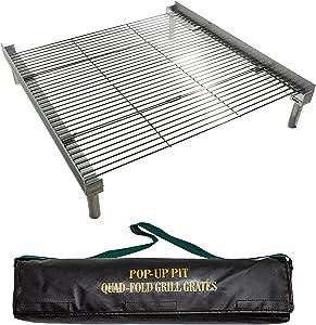 Campfire Defender Protect Preserve Pop Up Pit Portable Grilling Grates (QuadFold Folding Grill Grates)