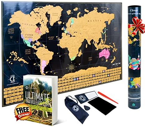 Amazon clever indoor scratch off world map poster decorative clever indoor scratch off world map poster decorative travel tracker map with united states outlined gumiabroncs Choice Image