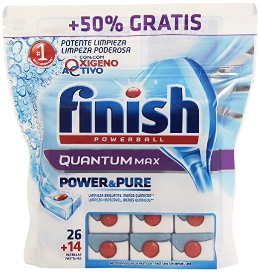 Finish Powerball - Quantum Max - Pastillas para lavavajillas - 728 g, 14 + 26 unidades