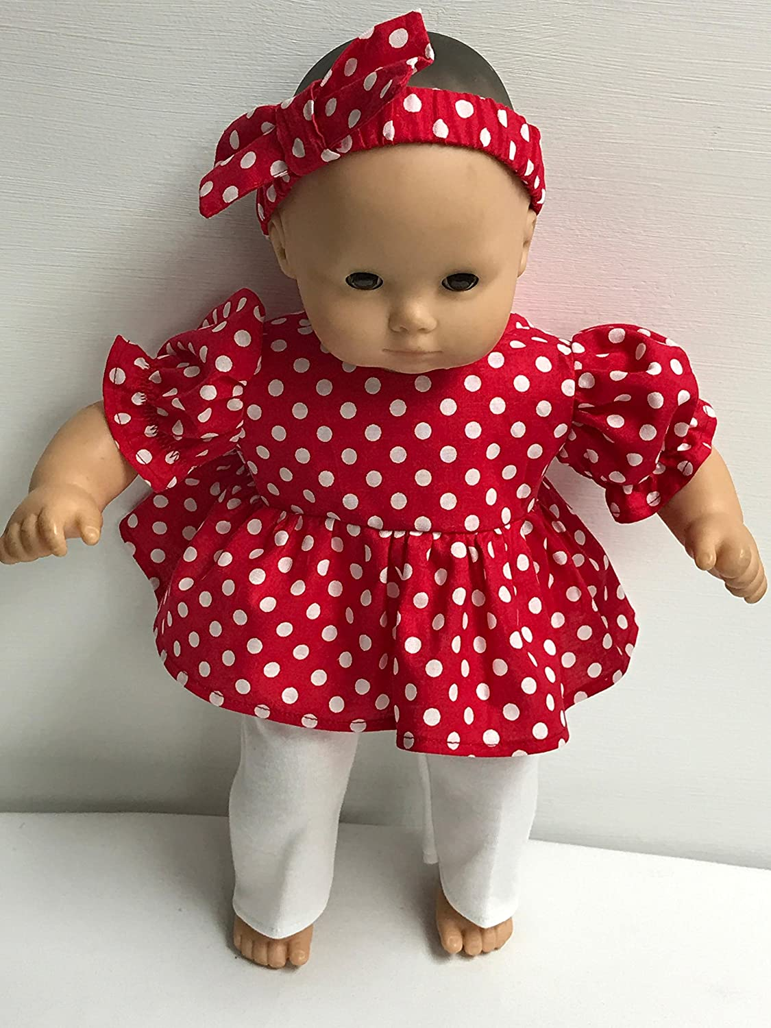 Red Polka Dot Doll Outfit for the American Girl 15 Bitty Baby
