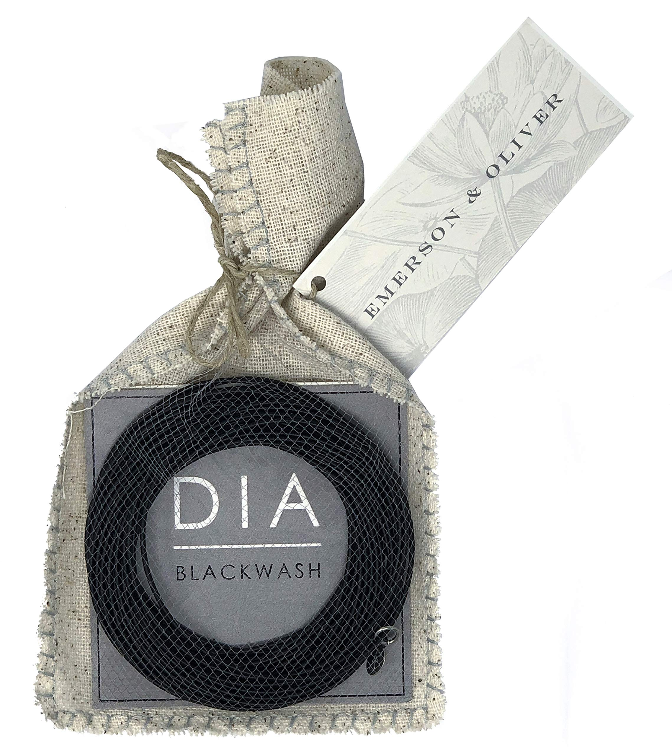 Emerson & Oliver Dia Spring Bracelets – Set of Blackwash Matte Black Simple, Inspirational, Boho, Minimalist Bracelets (25)