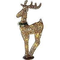 WeRChristmas–Figura Decorativa navideña (Sisal Blanco cálido LED Reno