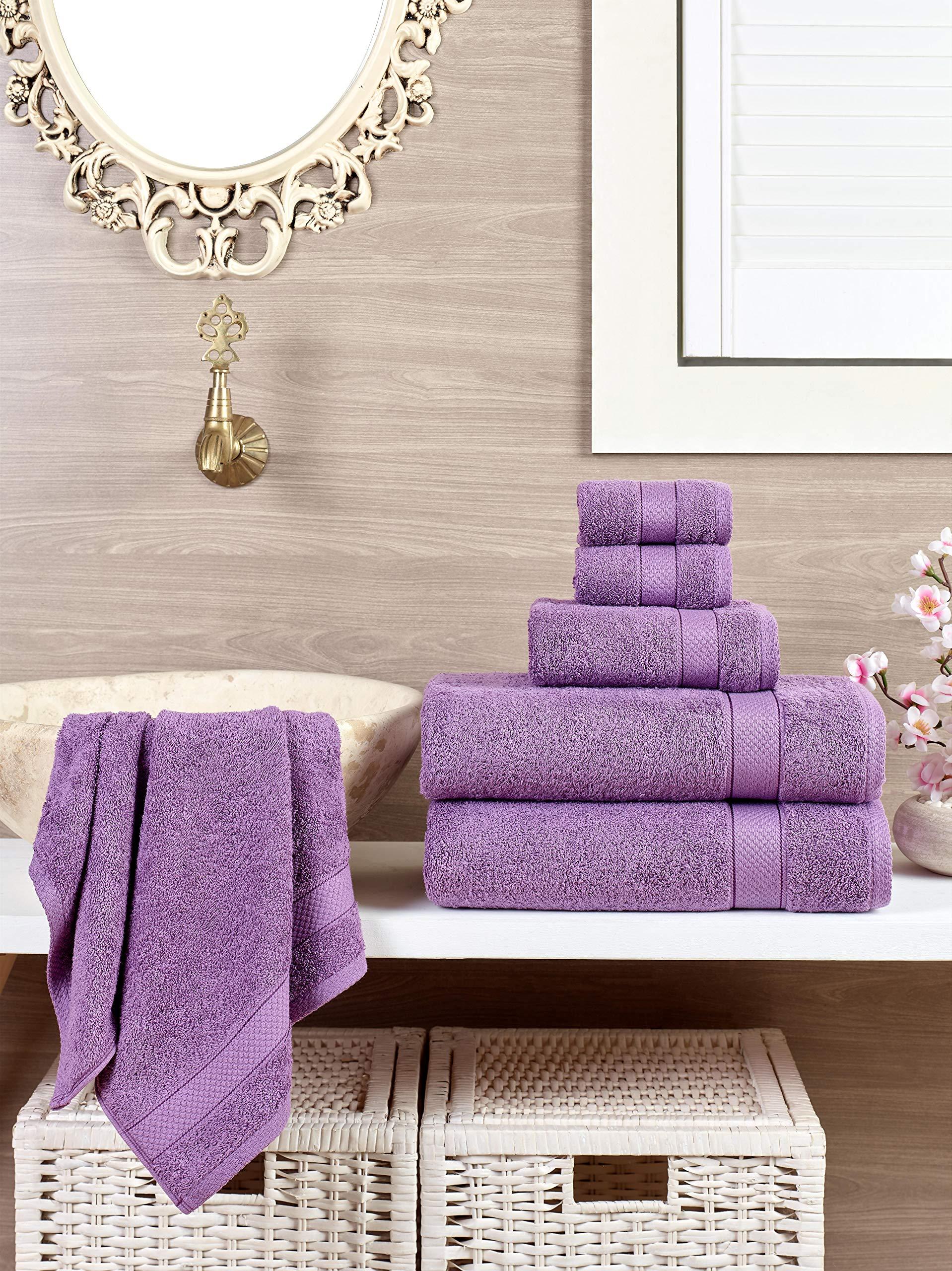 ixirhome Turkish Towel Set 6 Piece,100% Cotton, 2 Bath Towels, 2 Hand Towels 2 Washcloths, Machine Washable, Hotel Quality, Super Soft Highly Absorbent (DARK VIOLET)