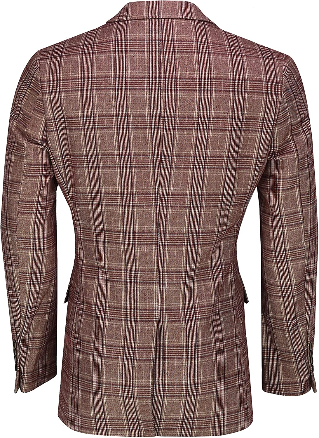 Xposed Mens Single//Double Breasted Blazer Tweed Check Retro Tailored Fit Suit Jacket