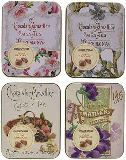 Chocolate Amatller Flors - Bombones de chocolate con leche Crocant en caja de metal - 4 cajas de 72 gr. (Total 288 gr.)