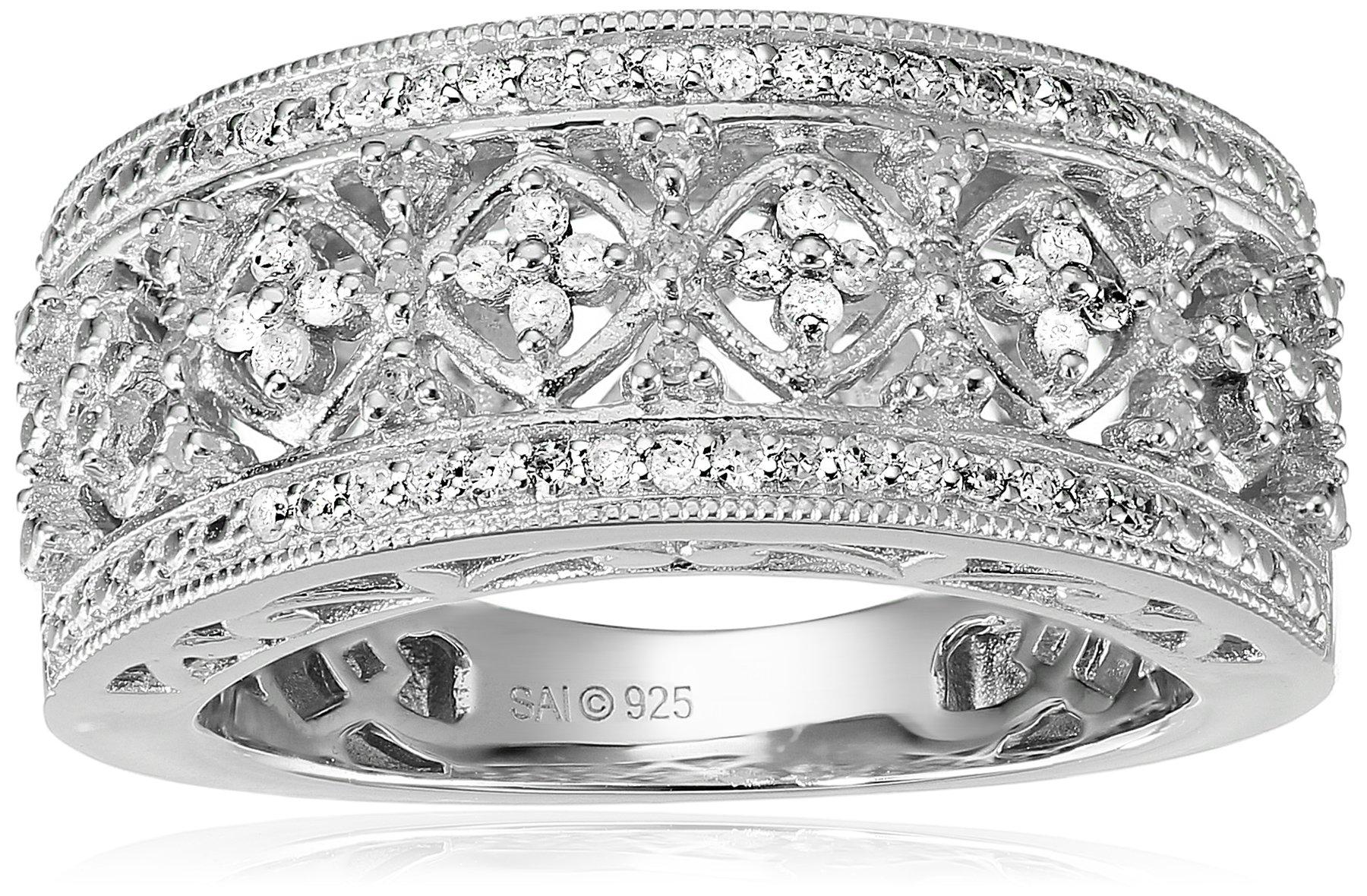Sterling Silver Diamond Lattice Ring (1/4 cttw), Size 7
