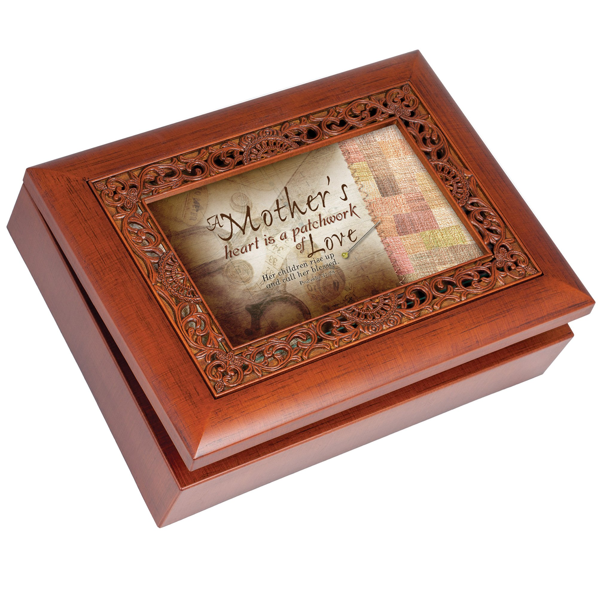 Cottage Garden Mothers Heart Ornate Woodgrain Musical Jewelry Box Plays What A Friend We Have In Jesus