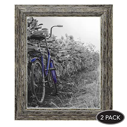 Amazon.com - 2-Pack, 8x10 inch Tan Rustic Picture Frame with Easel ...