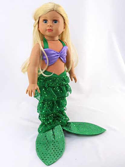 mermaid halloween outfit shell bikini top and sequin mermaid tail fits 18 american girl