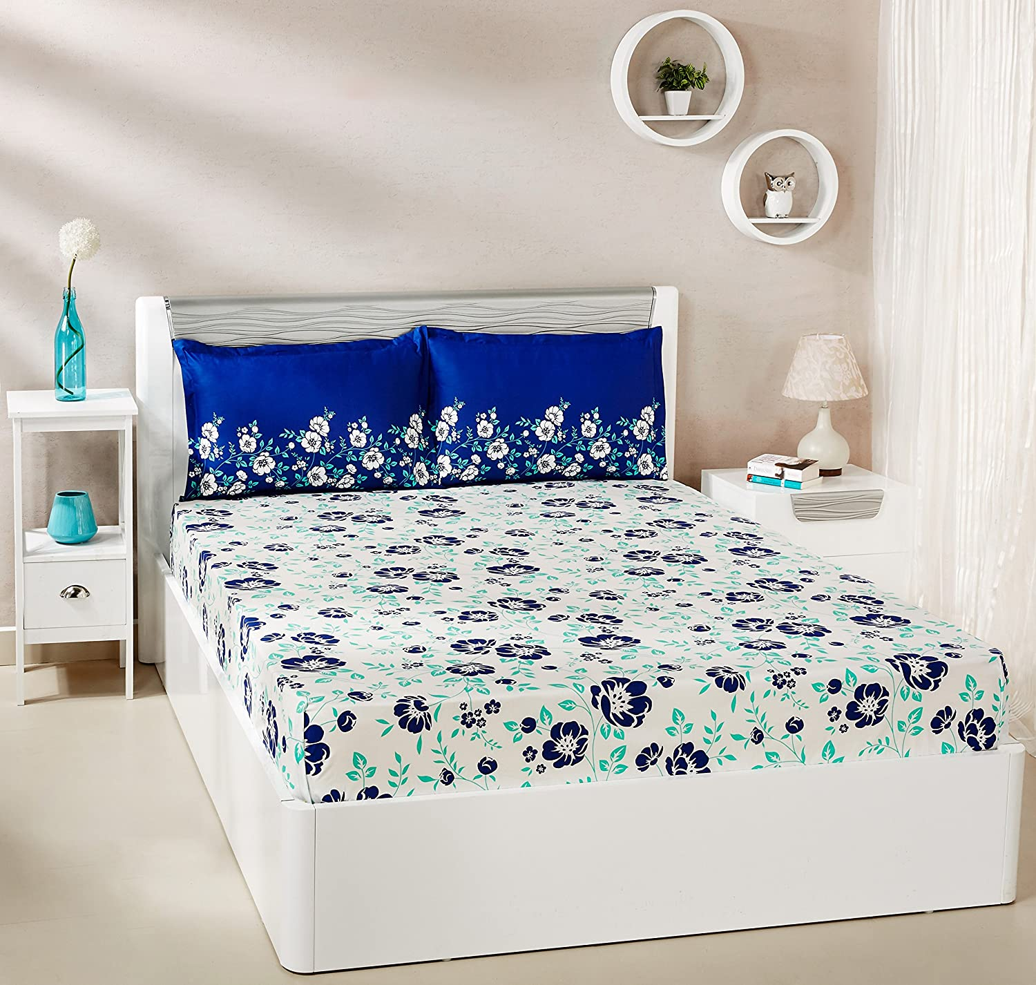 Solimo, Jasmine Zest 144 TC 100% Cotton Top Quality Bed sheets