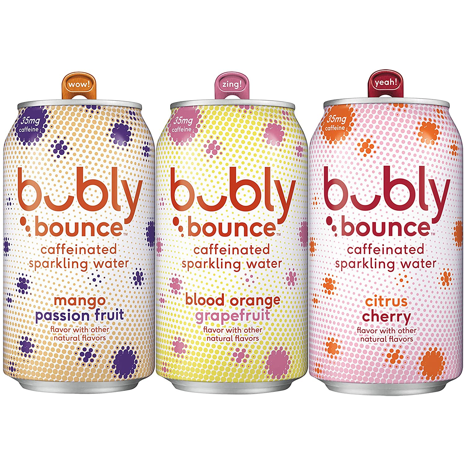 Bubly Bounce Caffeinated Sparkling Water, 3 Flavor Variety Pack, 12oz Cans, 18.0 Count