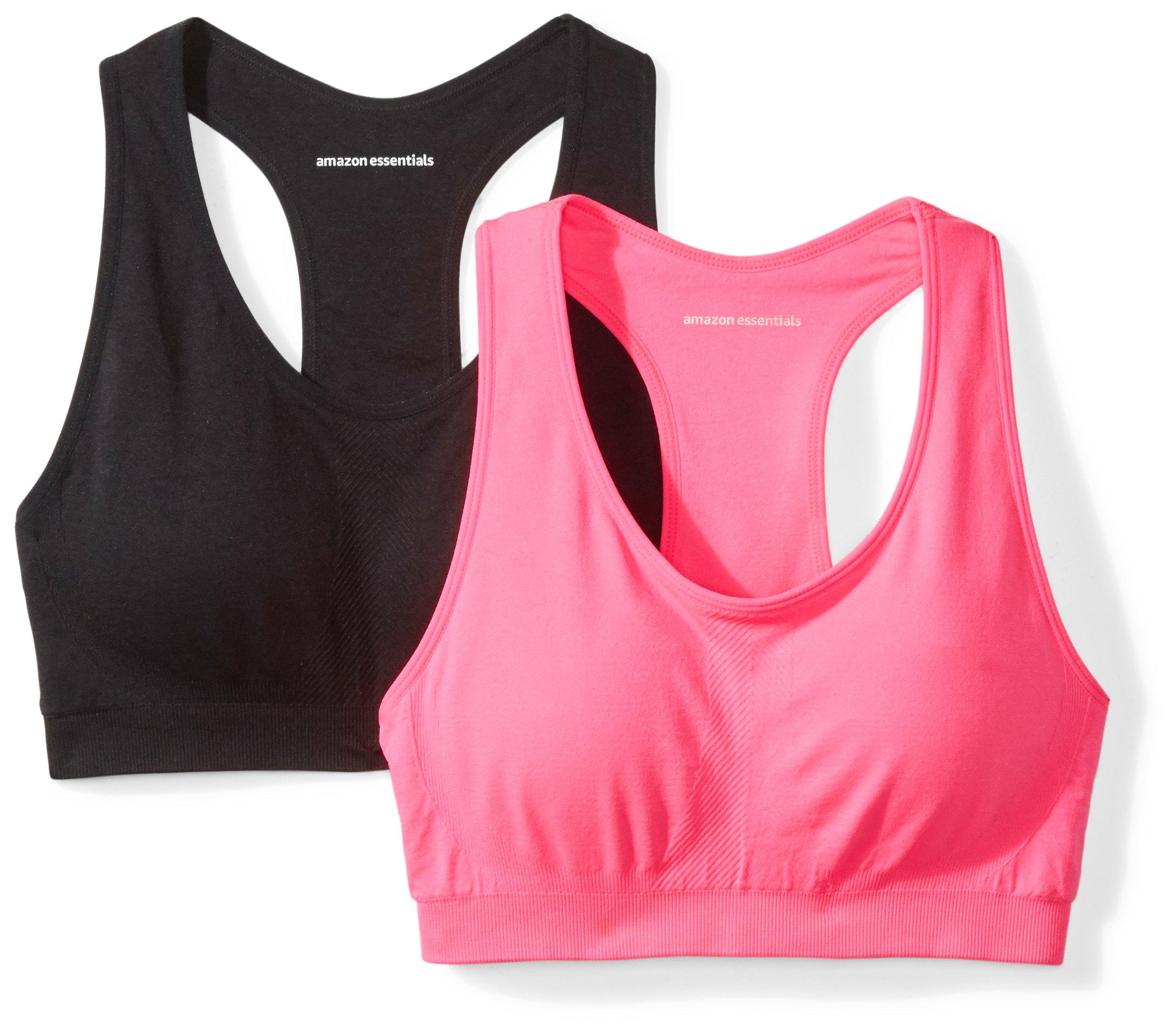 Amazon Essentials Women's 2-Pack Light Support Seamless Sports Bras, Black/Fuchsia Floral, Small