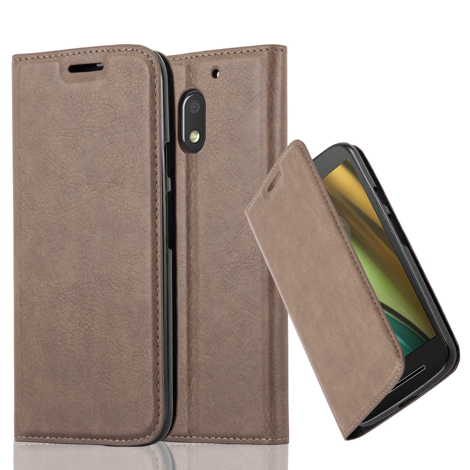 Cadorabo Case works with Lenovo (Motorola) MOTO E3 Book Case in COFFEE BROWN (Design INVISIBLE CLOSURE) – with Magnetic Closure, Stand Function and Card Slot – Wallet Case Etui Cover PU Leather
