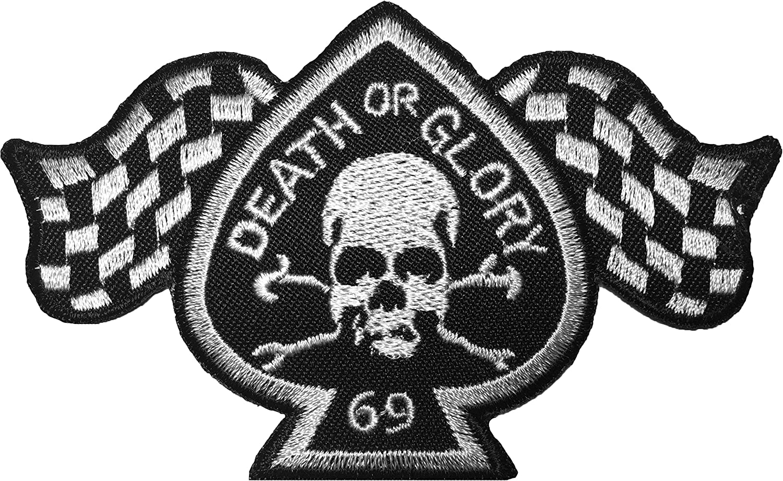 iron-death-glory-69 papapatch muerte o GLORIA 69/Ace Skull Ghost Rider motorista de carreras de bandera de cuadros Sew iron on bordado Badge Sign parche