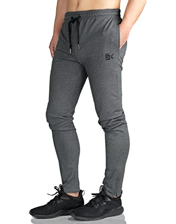 d97625c540e Broki Mens Zip Jogger Trousers - Casual Gym Fitness Tracksuit Bottoms Slim  Fit Chinos Sweat Pants