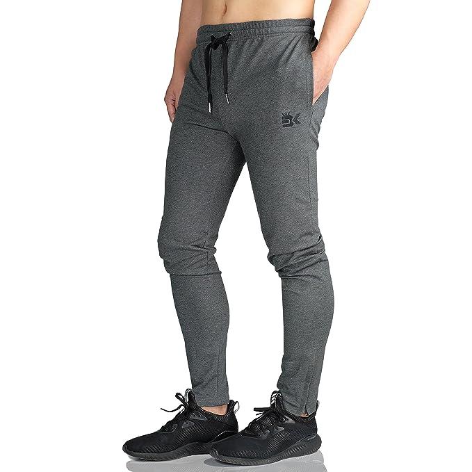 e0dd25fb81eeb Broki Pantalón de Cremallera para Hombre Pantalones Casual Gimnasio  Gimnasio Chándal Pantalones Pantalones de chándal Slim fit Pantalones  Deportivos  ...