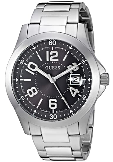 Amazon.com: GUESS Mens Japanese-Quartz Watch with Stainless-Steel Strap, Color: Silver-Tone, 21: ((Model: U1103G1): Watches