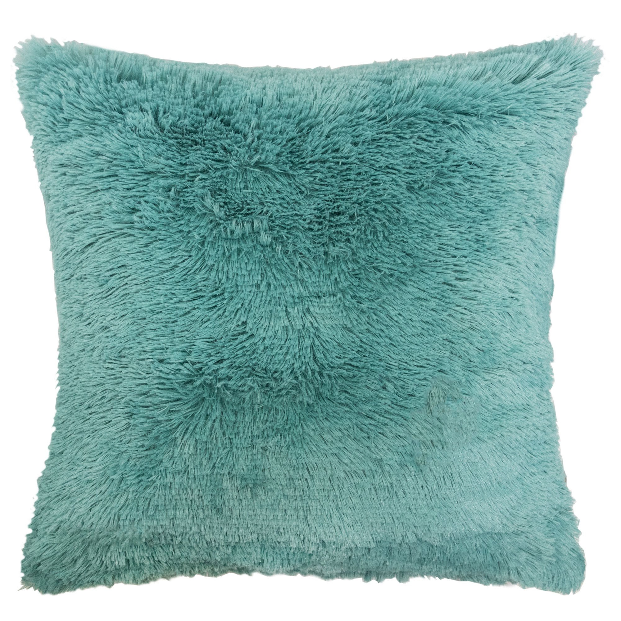 Homey Cozy Faux Fur and Flannel Decorative  Pillow, Super Soft Shaggy Fleece Fuzzy Lightweight, Feather Filled, Spa , Synthetic