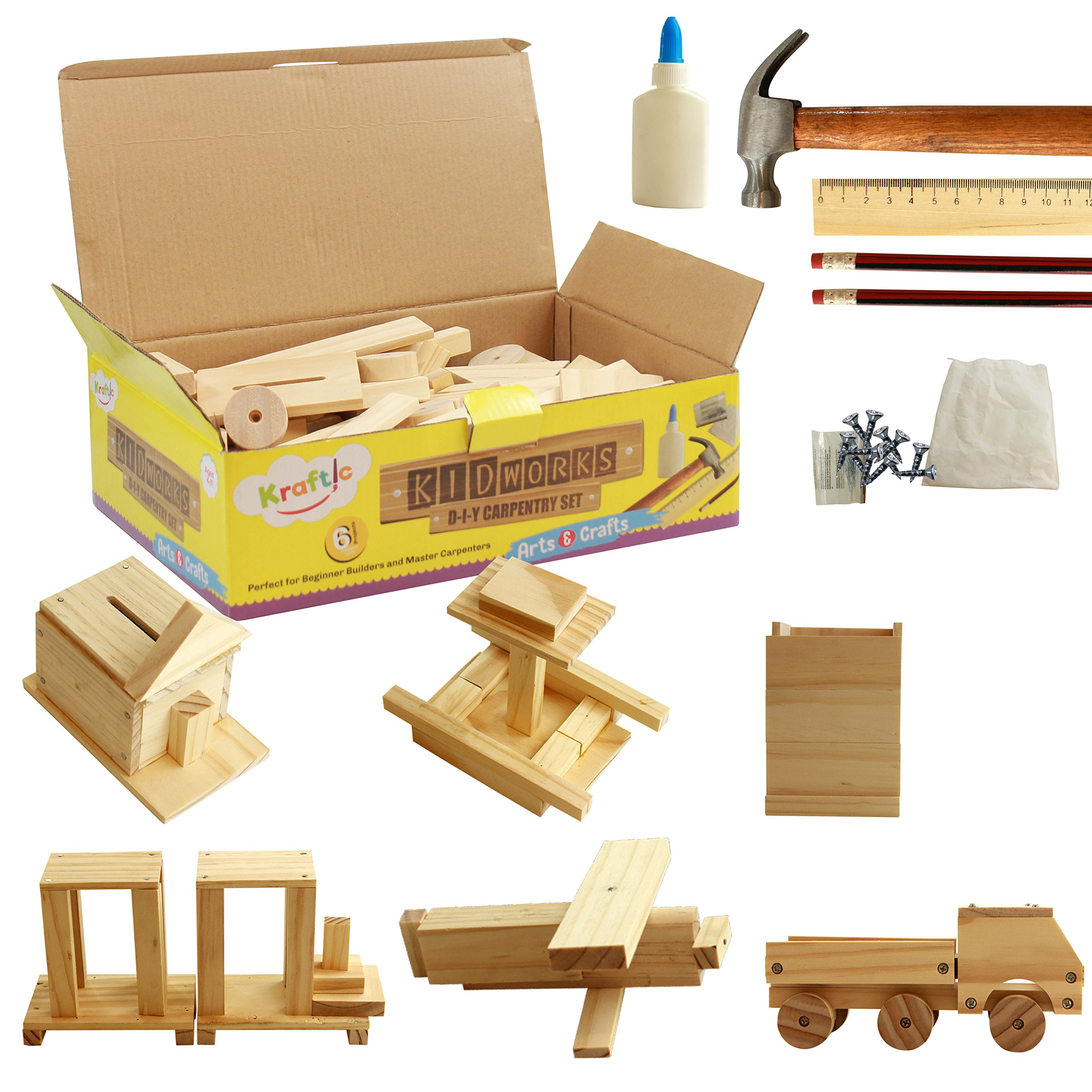 Kraftic DIY Deluxe Carpentry Woodworking Kit with 6 Projects by Kraftic