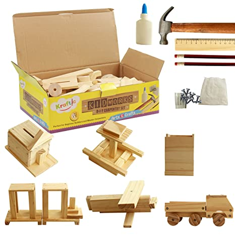 Amazon Com Kraftic Diy Deluxe Carpentry Woodworking Kit With 6