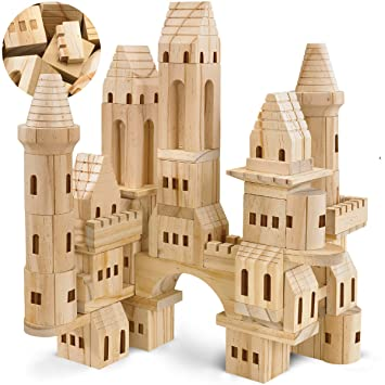 Fao Schwarz Medieval Knights Princesses Wooden Castle Building Blocks 75 Piece Set