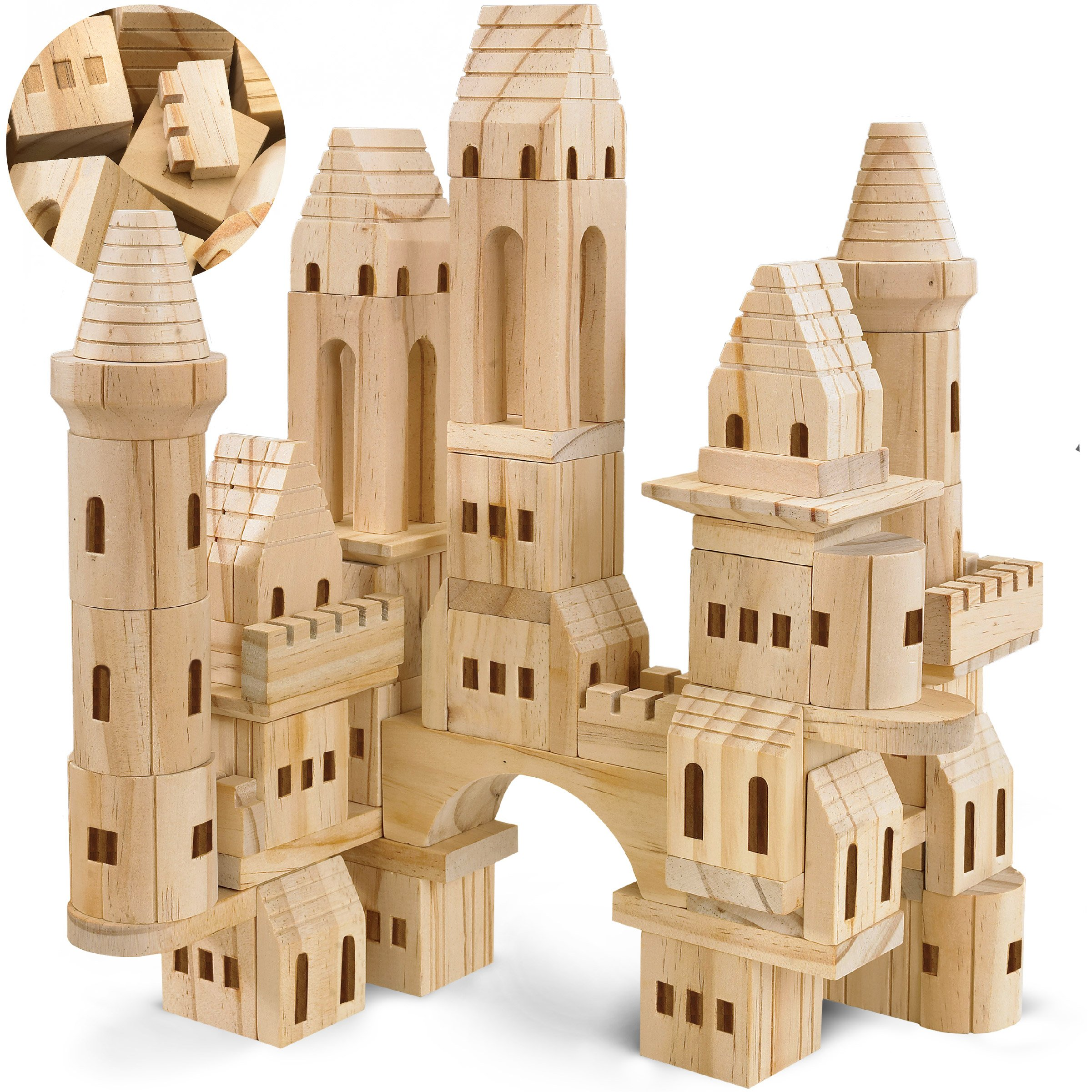 FAO Schwarz {75 Piece Set} Wooden Castle Building Blocks Set Toy Solid Wood Block Playset Kit for Kids, Toddlers, Boys, and Girls, Fantasy Medieval Knights and Princess Theme with Bridges and Arches