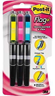 Post-it Flag+ Highlighter & Pen, 3-Pack in Yellow, Blue,