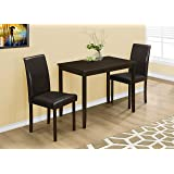 Monarch Specialties 3 Piece Dining Set Cappuccino Brown Parson Chairs