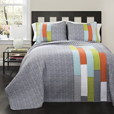 3 piece patchwork geometric vibrant stripes patterned reversible