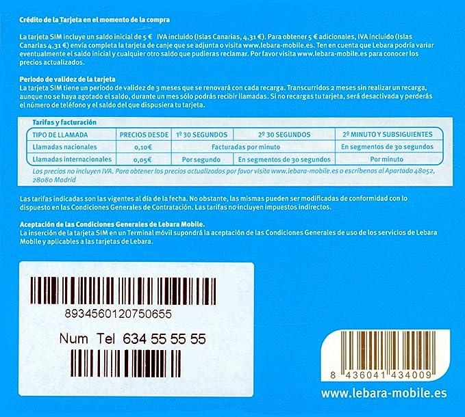 Lebara 10 € - Tarjeta SIM LEBARA - ESPAÑA: Amazon.es: Electrónica