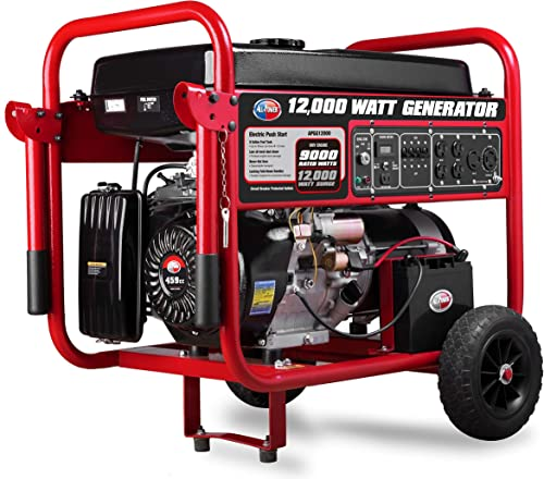 All Power America APGG12000 12000 Watt Portable Generator w Electric Start Gas Powered, Black Red