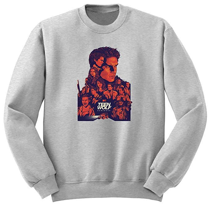 Teen Wolf Movie Poster Style Sudadera Sweatshirt S3 (XXL, Gris)