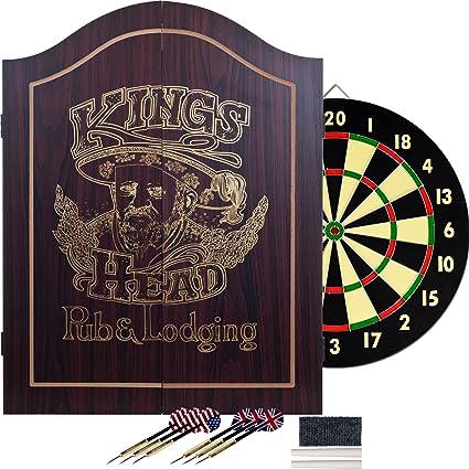 Amazon Com King S Head Dark Wood Dartboard Cabinet Set Dart