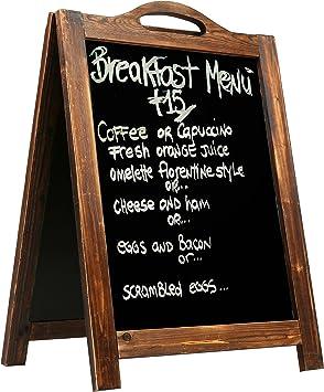 2-Side Sidewalk Sandwich Board Rustic Style A-Frame Chalkboard Sign Dark Brown
