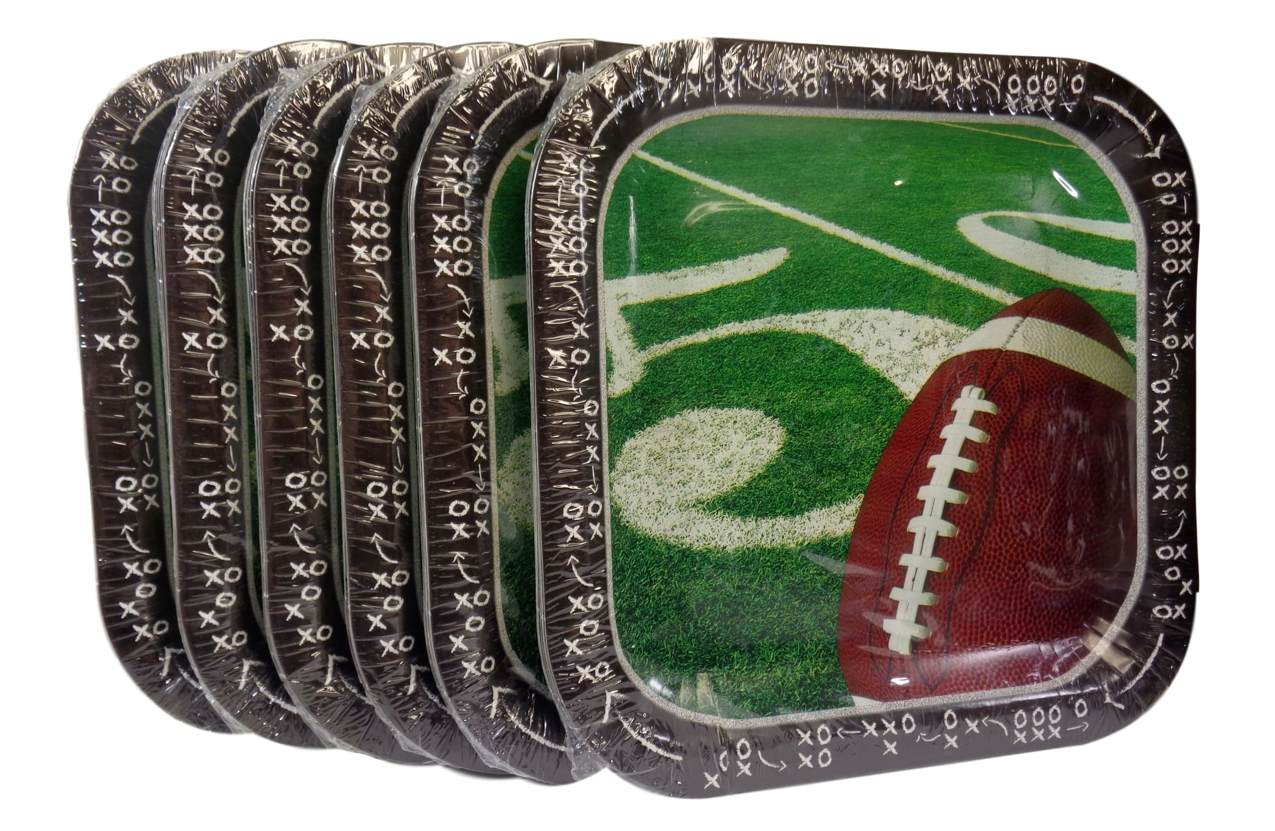 Bulk Buy: Football Super Bowl Party Square Paper Plates, (14) Plates/Pkg., Pack of (6) - Total (84) Plates by Greenbrier International
