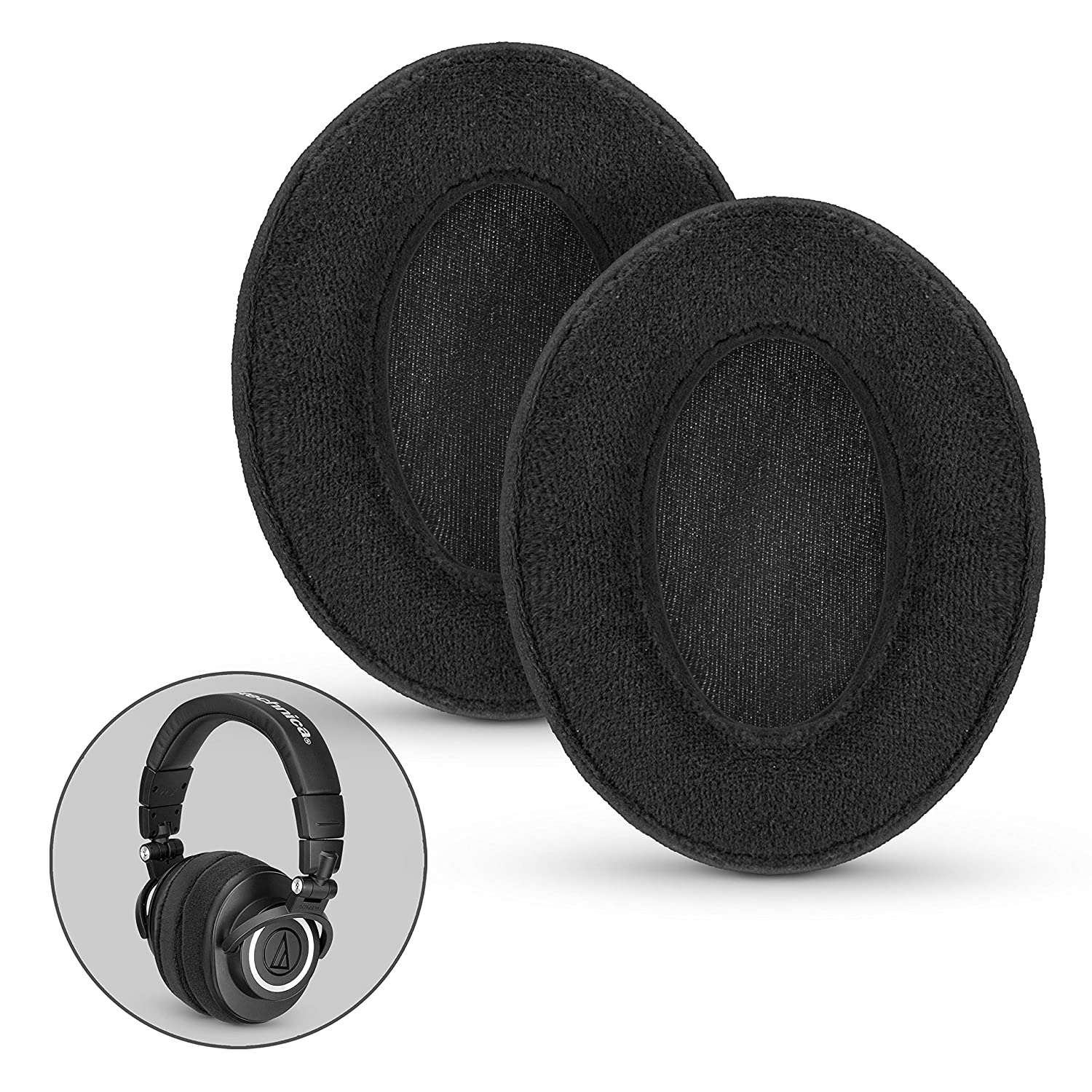 BRAINWAVZ Velor Replacements Ear Pads - for ATH-M50X, SHURE, AKG, HifiMan, ATH, Philips, Fostex Velour Memory Foam Earpads & Many Over The Ear Headphones